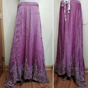 Vintage Indian Bridal Lehenga Maxi Skirt Zardozi
